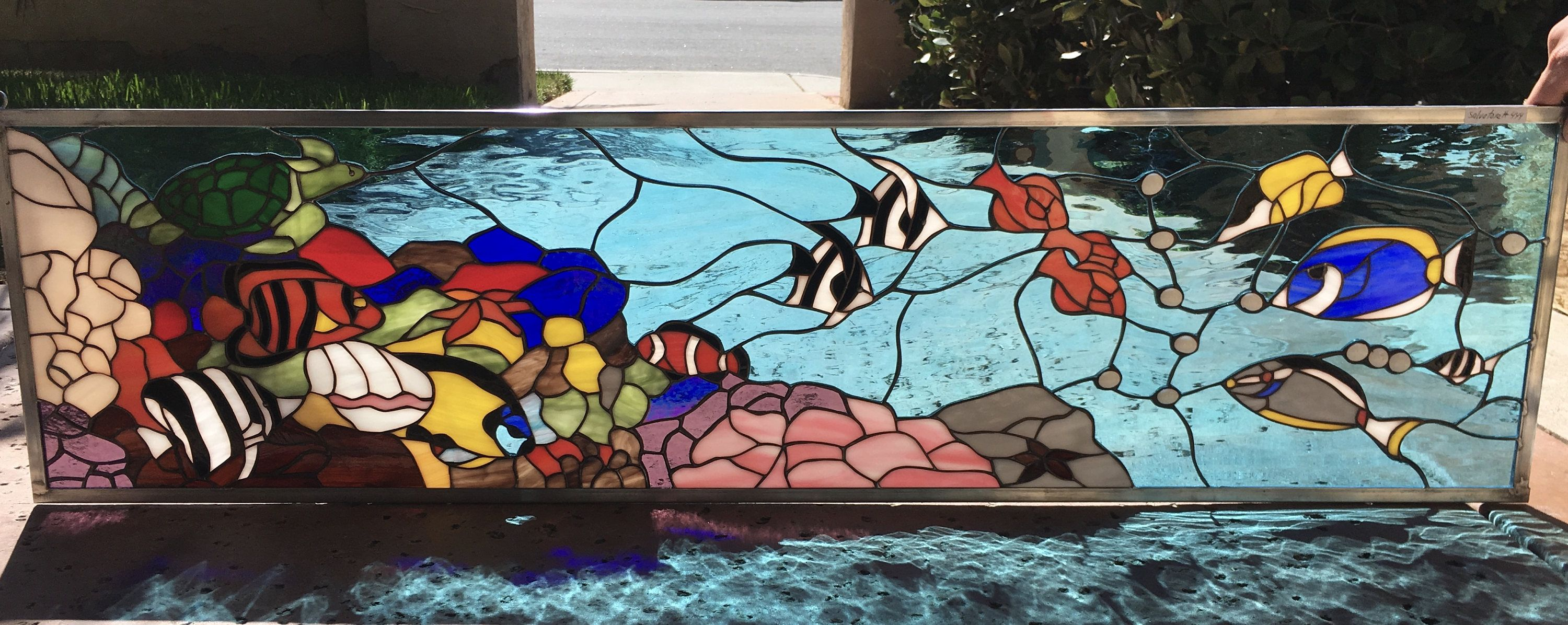 The Fish Tank Incredibly Colorful Turtle Fish And Coral Reef Leaded Stained Glass Transom Window We Do Custom Work In 2020 Stained Glass Fish Tank Making Stained Glass