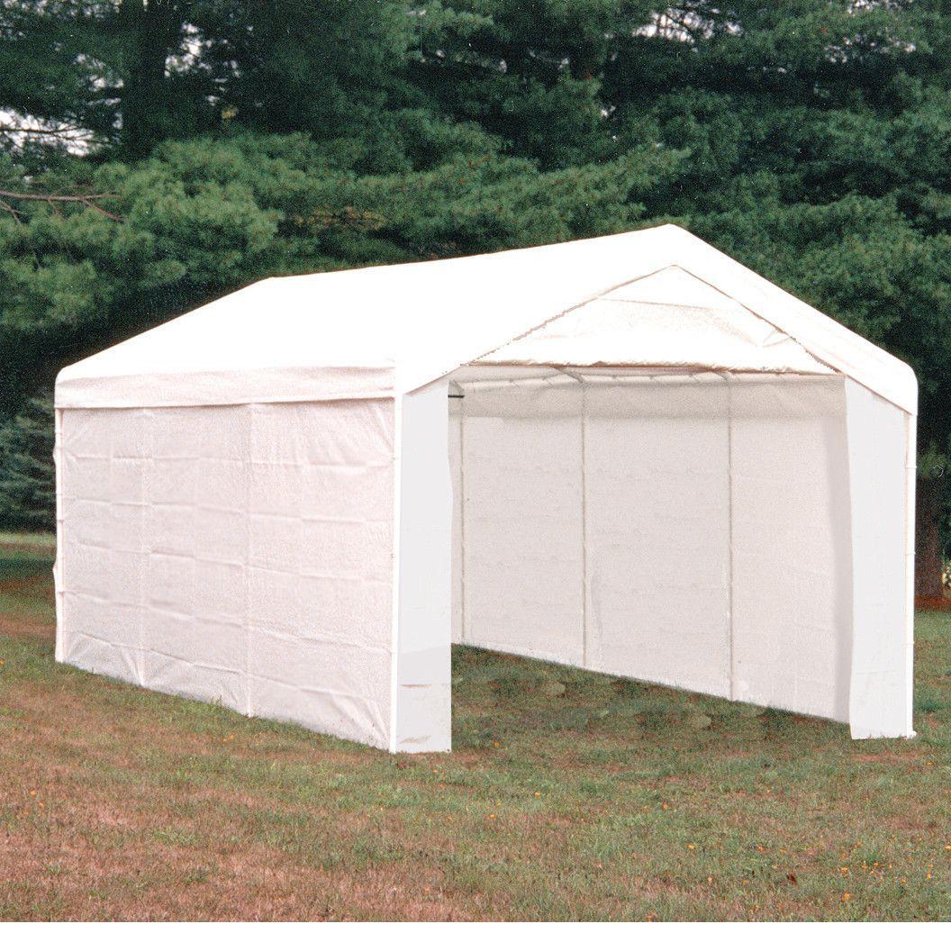 Carport Canopy Shelter With Full Enclosure Kit 10x20 White