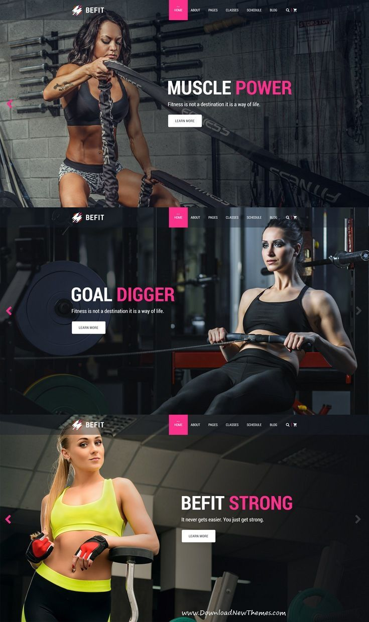 BeFit is clean and modern design PSD Template for #gym and #fitness centers #website with 4 homepage...