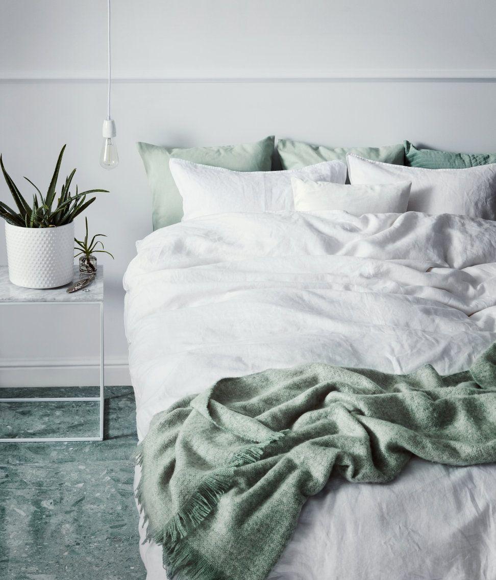 Weiß Premium Qualität Doppelbettwäsche Aus Gewaschenem Leinen Mit