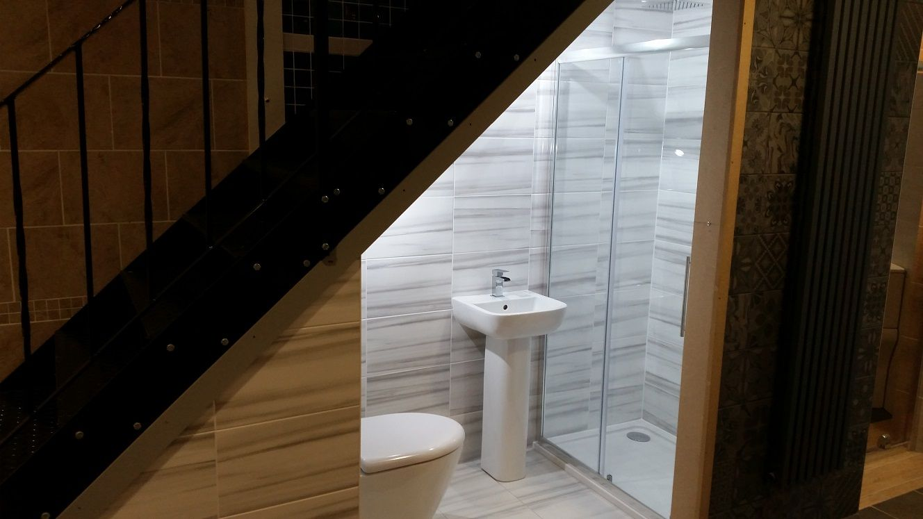 Can i fit a tiny shower under the stairs google search for Bathroom designs under stairs