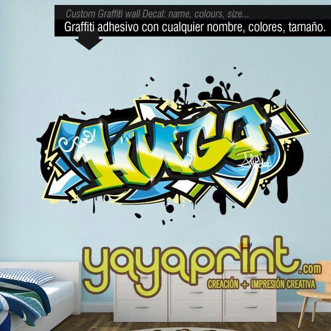 graffiti nombre decoracin habitacin cuarto dormitorio juvenil infantil nio nia hombre adolescente mujer pared vinilo