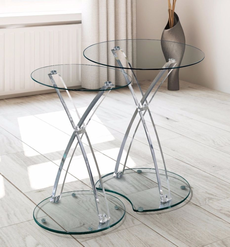 Furniture Luna Modern Clear Glass Acrylic 2-Piece Nesting Table ...
