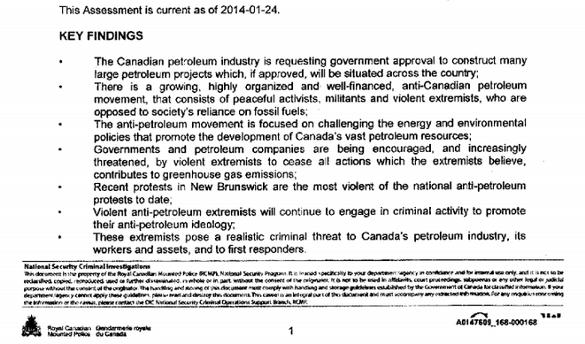 """LEAKED: Internal RCMP Document Names """"Violent Anti-Petroleum Extremists"""" Threat to Government and Industry 