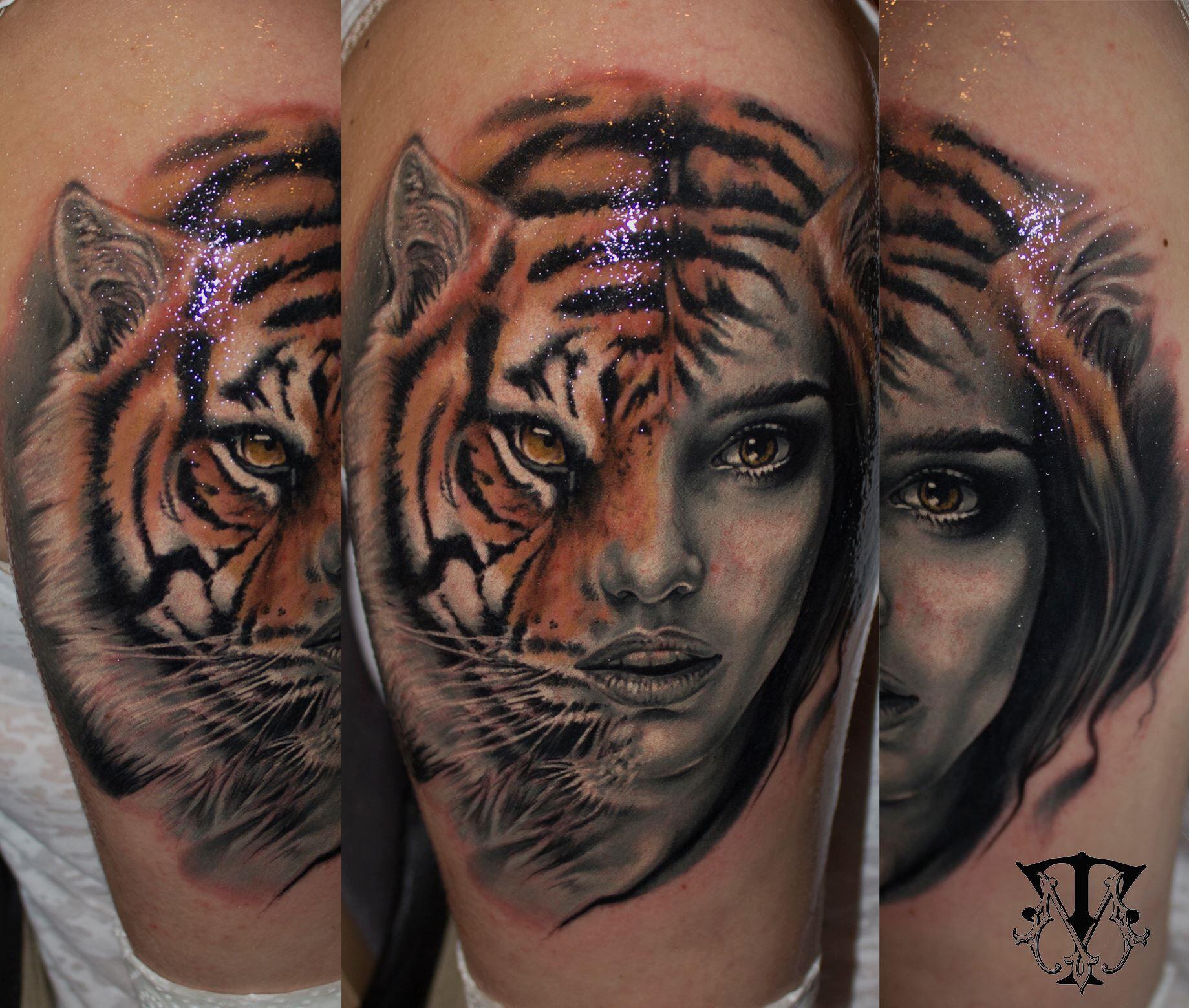 Tigerwomen face tattoo Neck tattoo, Face tattoos for