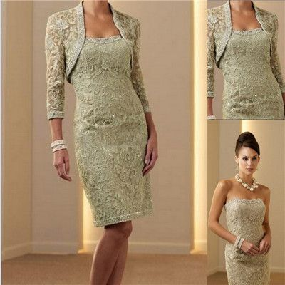 Whole Sweetheart Champagne Mother Of The Bride Dresses With Lace Bolero Jacket And Knee Length New
