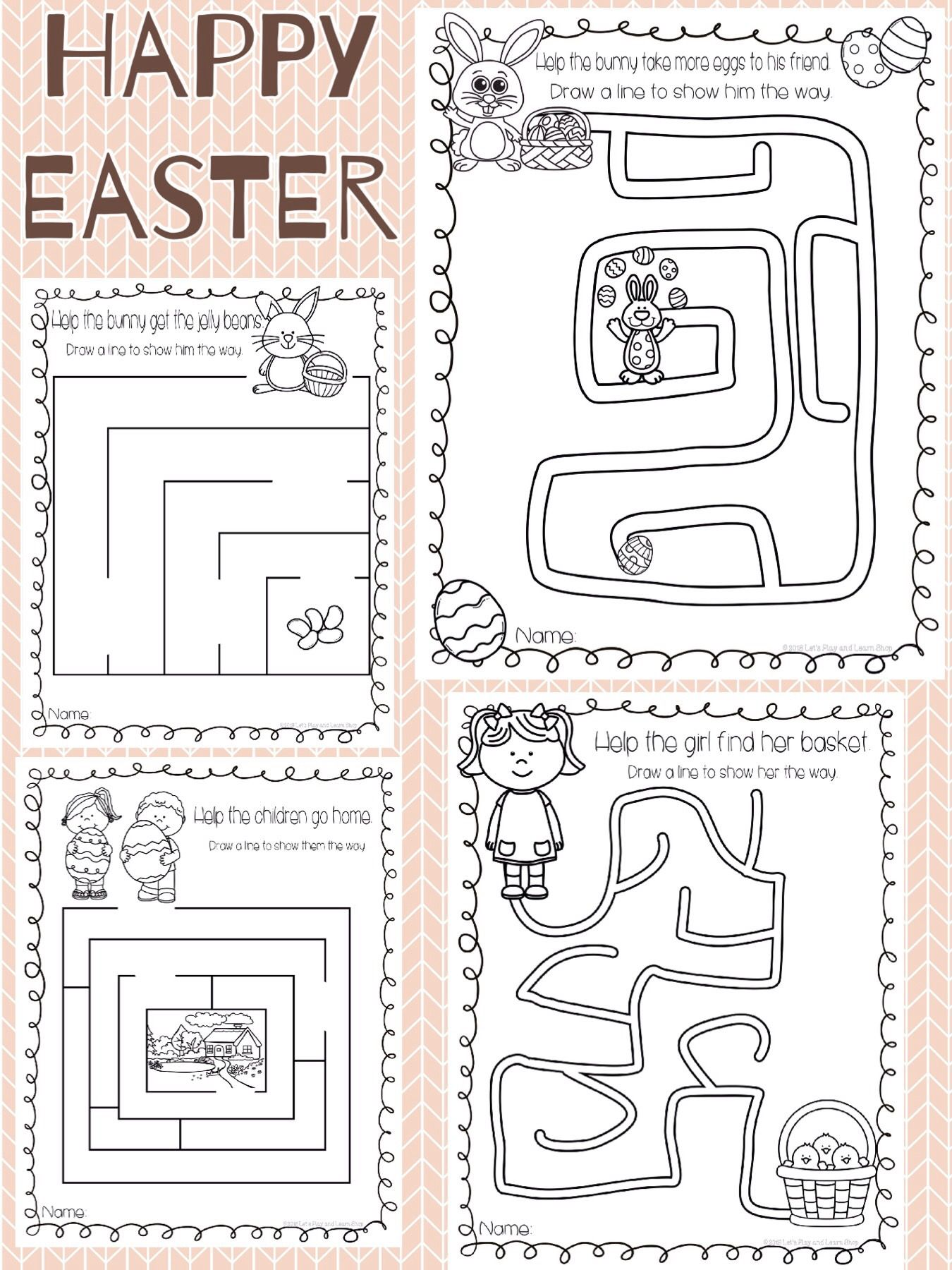 Easter Maze Worksheets Preschool