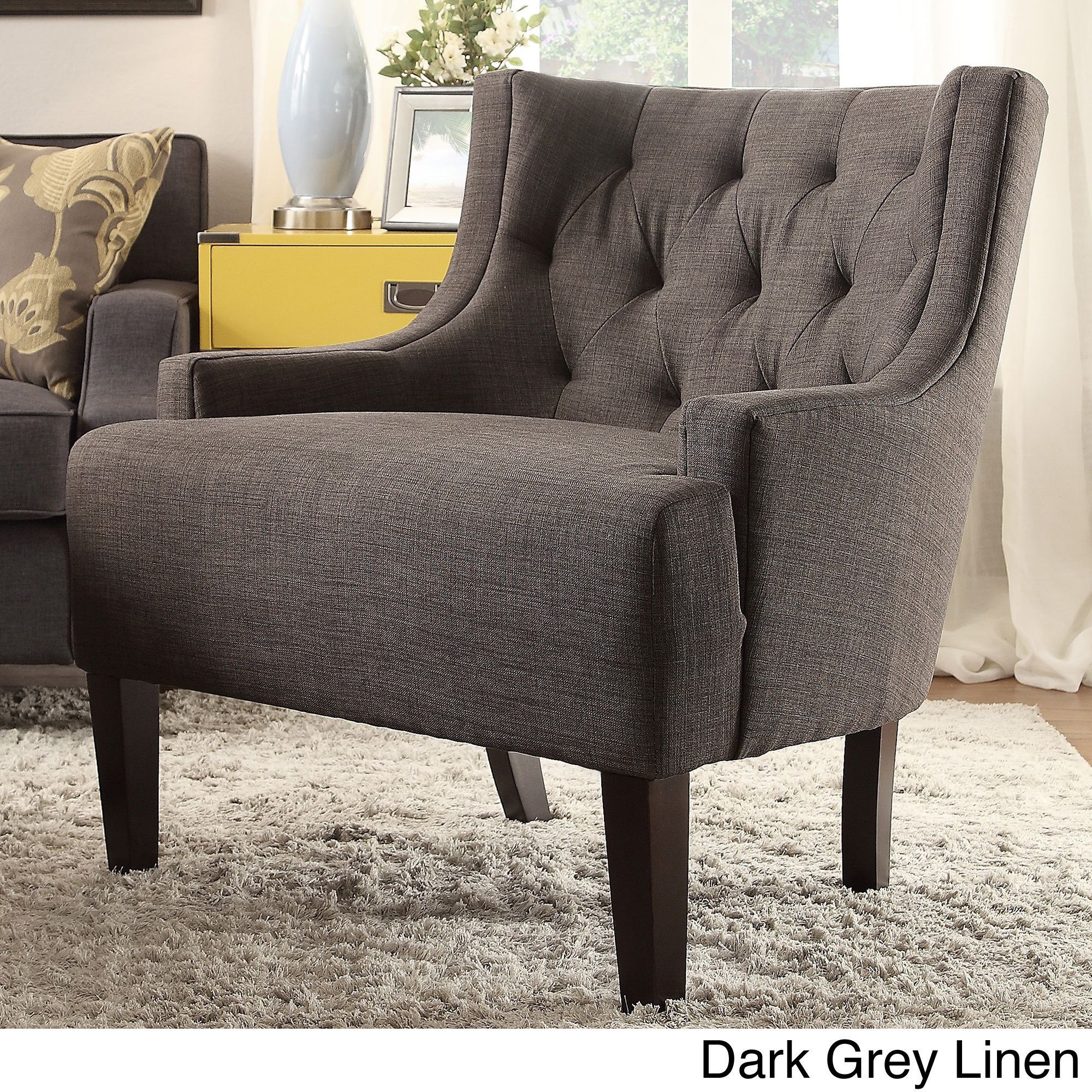 Tess Wingback Tufted Linen Upholstered Club Chair By