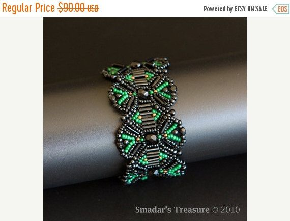 ON SALE Beadwoven Bracelet in Black, Forest Green and Bits of Copper. Symmetrical Geometric Shaped Bracelet S166