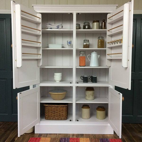 Freestanding Larder Cupboard Open View Showing Adjsuable