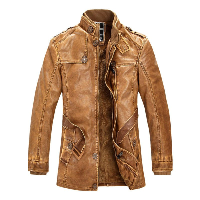 BIG SALE Vintage Men Cowboys Winter Trench Coat Leather Motorcycle ...