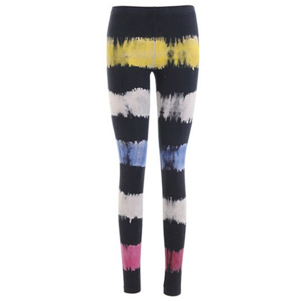 Black Slimming Ladies Colorful Stripes Cool Leggings ($18) ❤ liked on Polyvore featuring pants, leggings, black, colorful pants, black leggings, stripe leggings, black pants and pink leggings