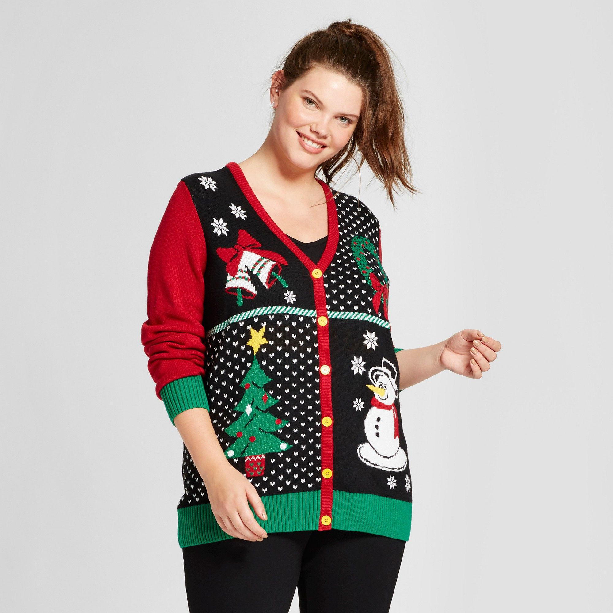 Womenus plus size santa vneck cardigan ugly christmas sweater