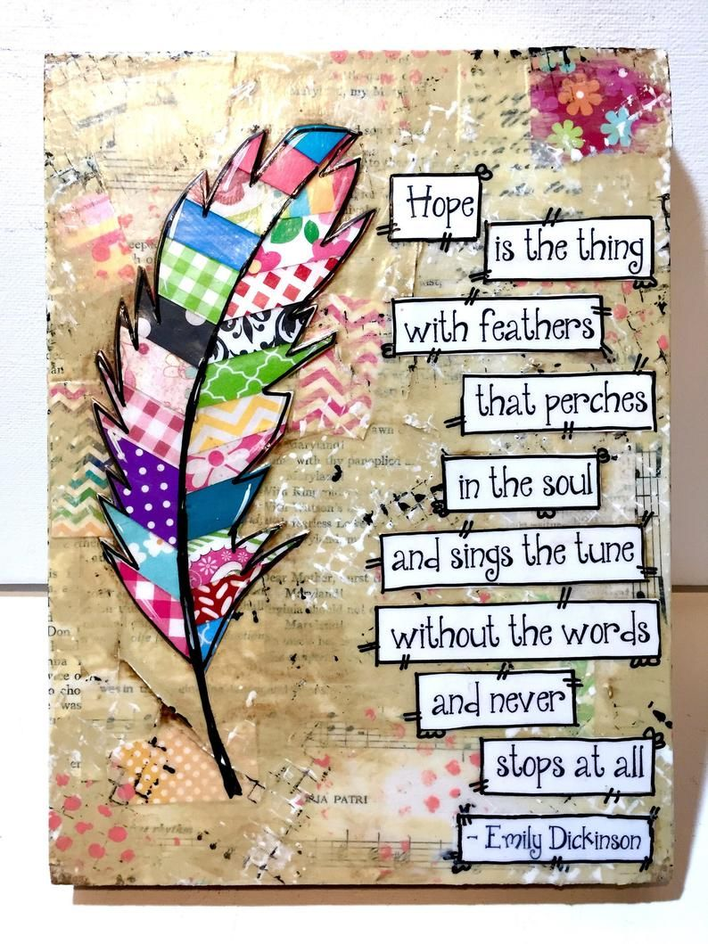 Feather Sign, Boho Feather, Colorful feather art, Mixed Media, Feather Wall Decor, Emily Dickinson, Hope