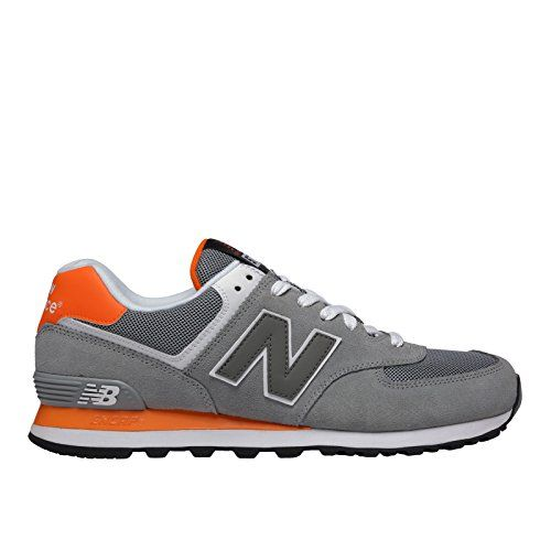 New Balance Men's ML574 Core Plus Running Shoe, Grey/Orange, 9 D US