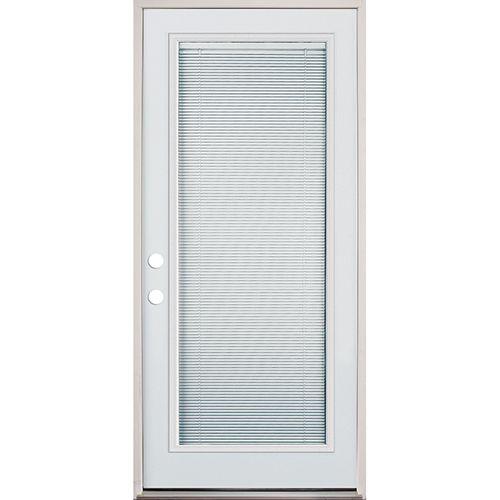 32 Full Lite Mini Blind Prehung Exterior Steel Door Unit Right