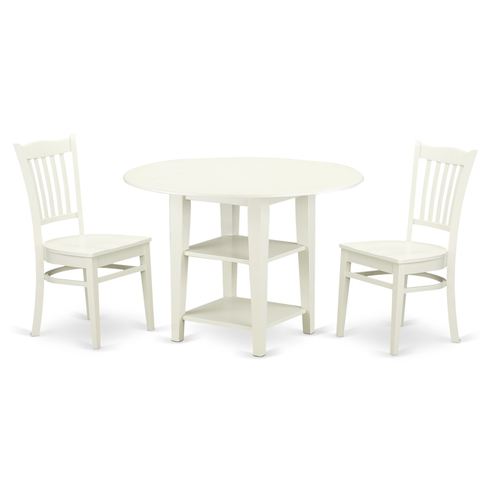 East West Furniture Sudbury 3 Piece Dual Drop Leaf Dining Table Set With Slat Back Chairs Linen White In 2019 Products
