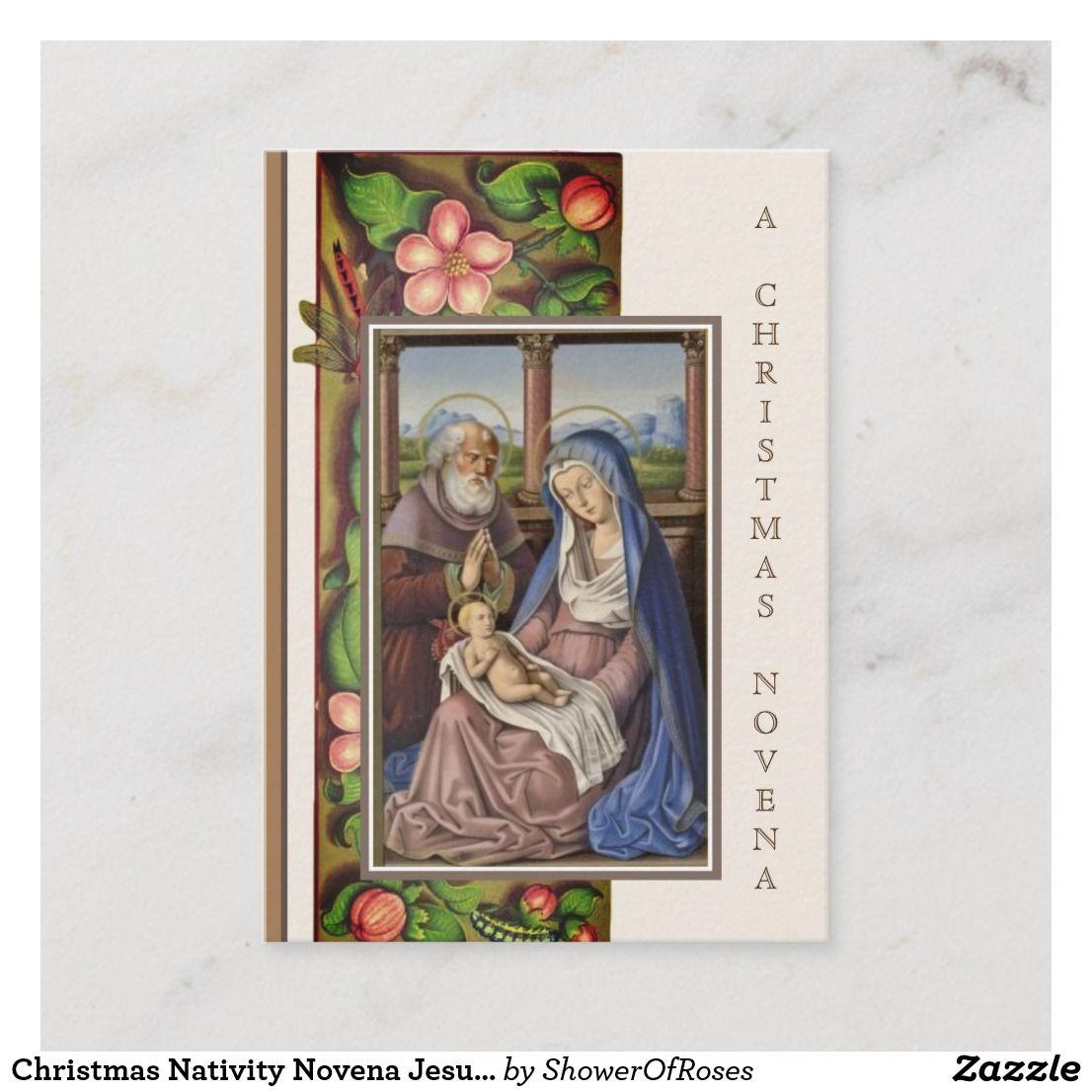 Christmas nativity novena jesus mary holy card zazzle