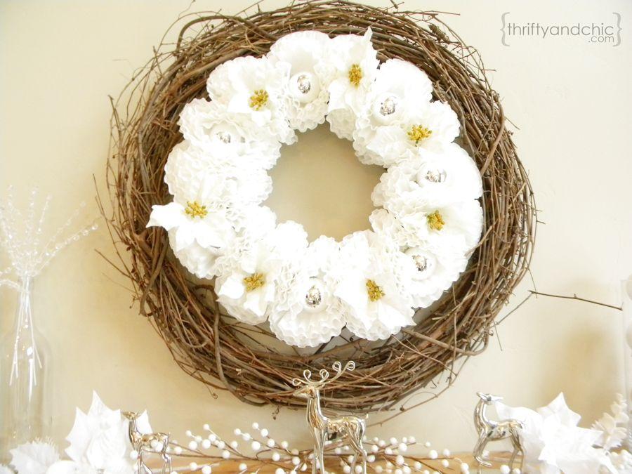 Poinsettia coffee filter wreath