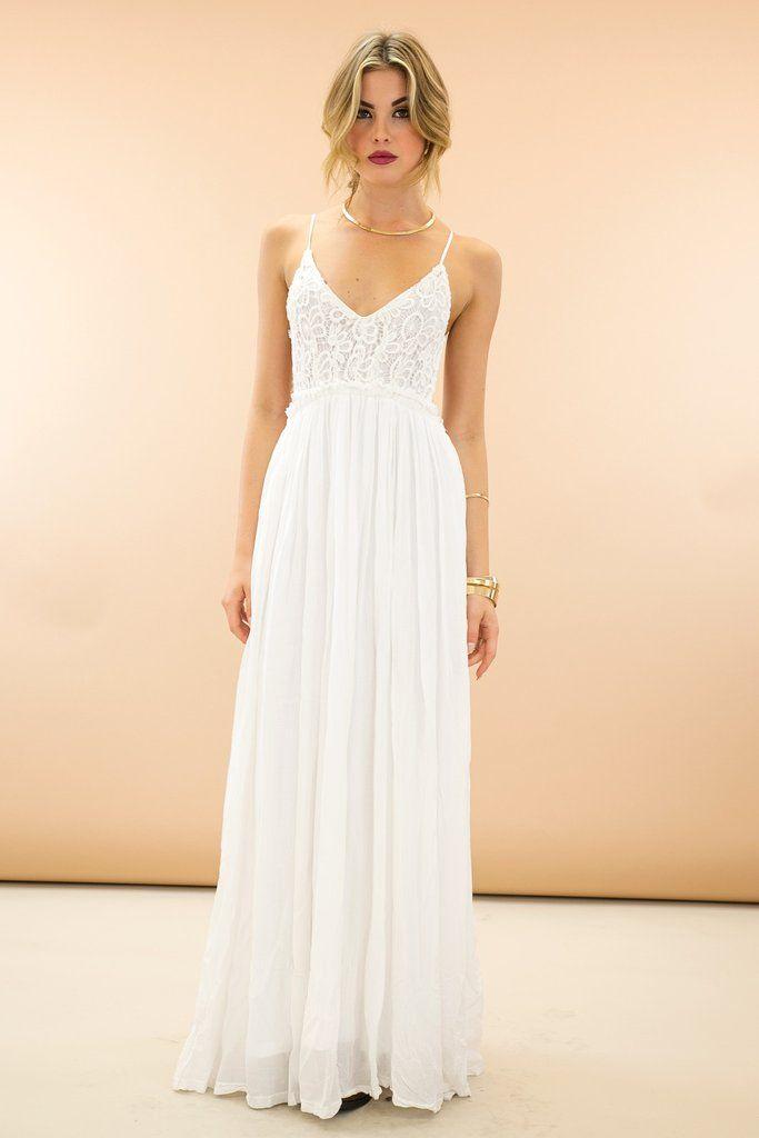 85e0e808d4 Camilla Open Back Crochet Maxi Dress - White