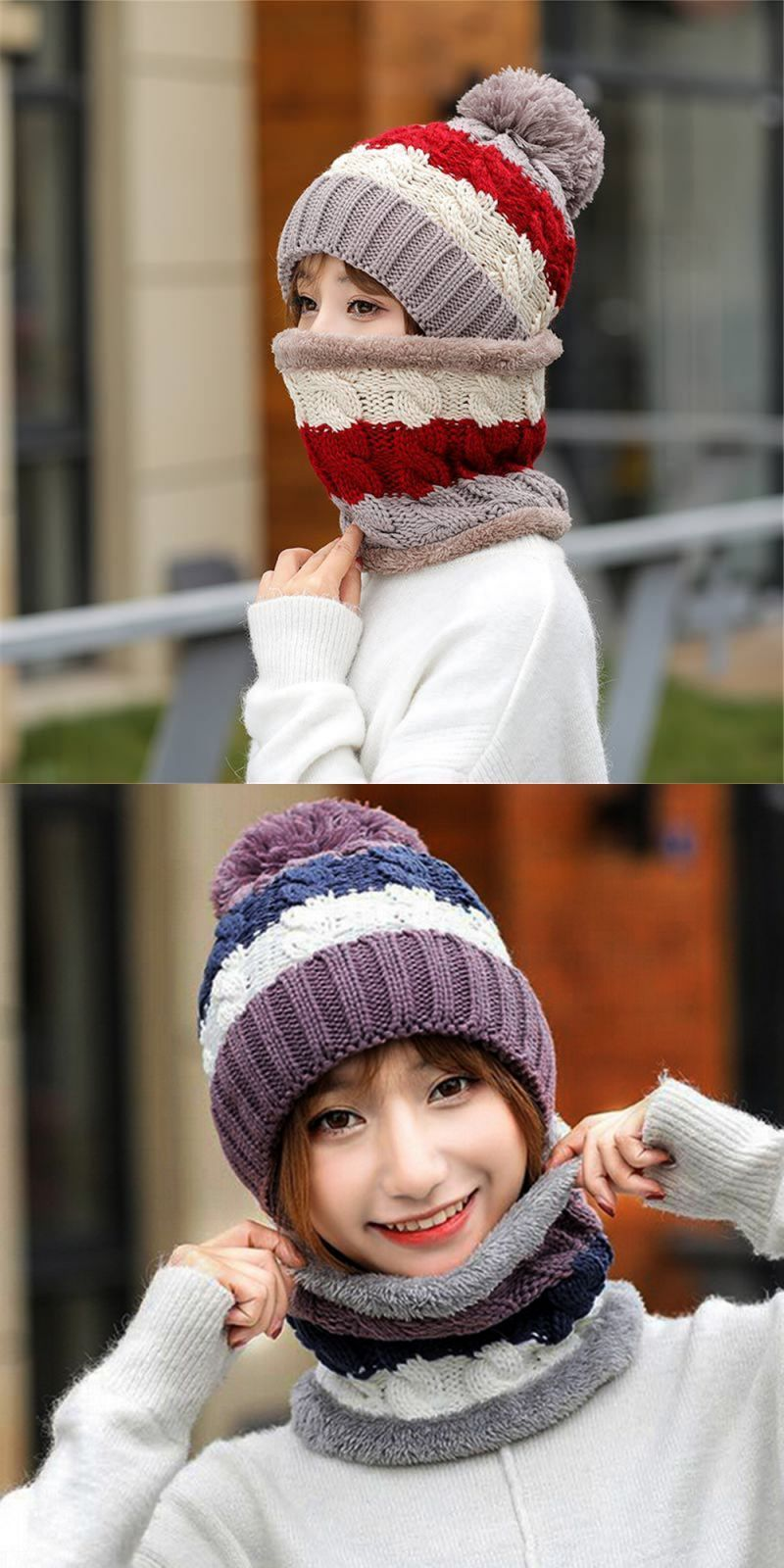 a003b2491f12c Womens hat bib warm ear velvet thicken fluff ball crochet winter hairball caps  fashion caps for women hats winter ladies  acrylic  adult  women  casual ...