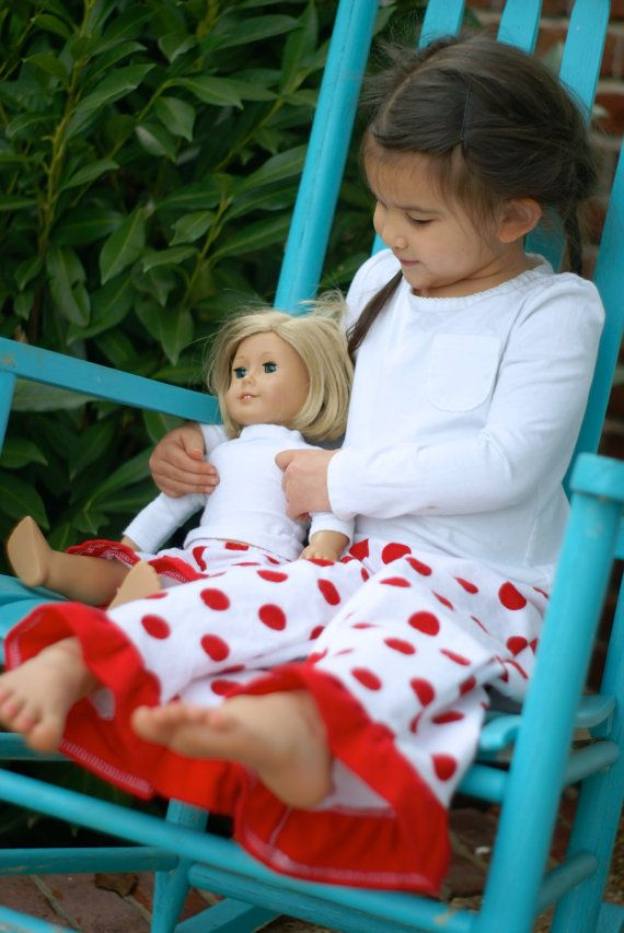 Matching Girl and Doll Clothes. Christmas pajamas. by AsYouStitch