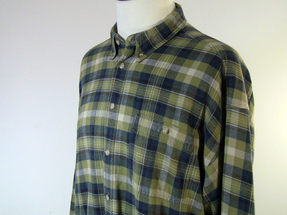 Mens Button Down Shirts 2XL Rockport Lng Sleeve 100% Cotton Plaid ...
