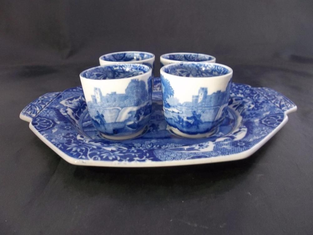 Vintage Spode Blue Italian Egg Cups And Tray Rare Made In England S1788 Ebay