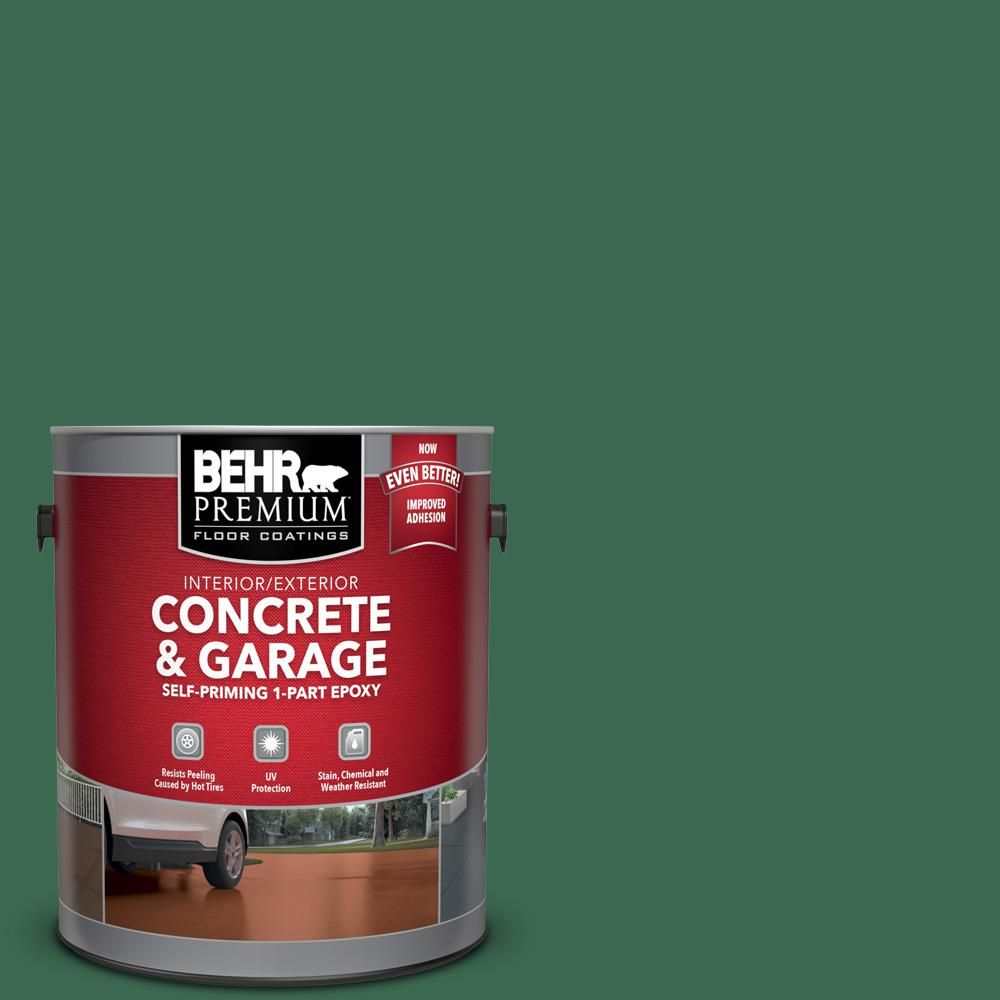 Behr Premium 1 Gal M410 7 Perennial Green Self Priming 1 Part Epoxy Satin Interior Exterior Concrete And Garage Floor Paint 93001 Garage Floor Paint Painted Floors Concrete Garages