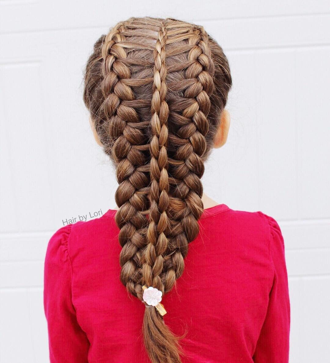 Two feathered Dutch braids into a 3D round braid on Gracie