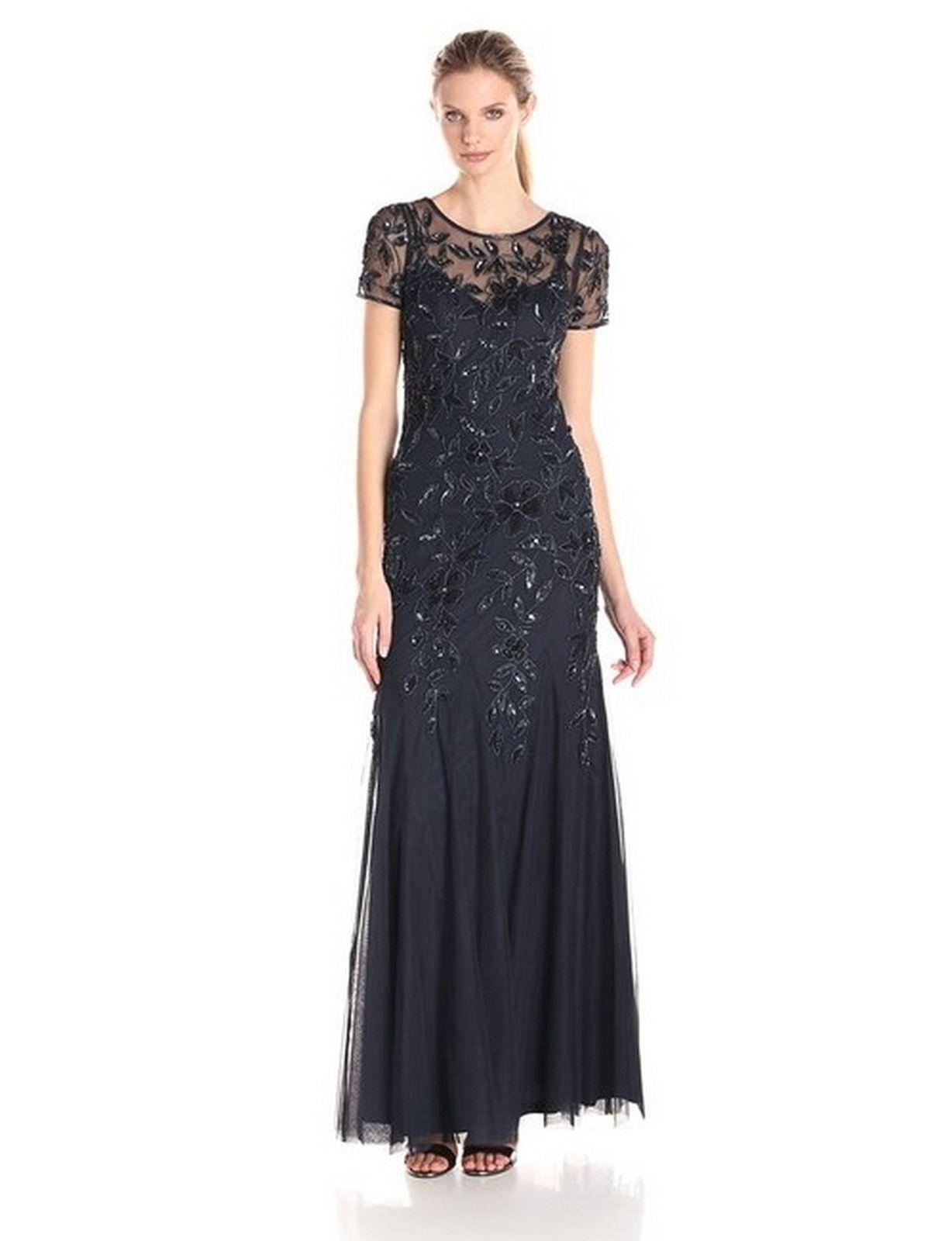 ff05805d4f7 Adrianna Papell Mist Women's Petite Beaded Godet Gown (Twilight ) Formal  Dress $118 Effortlessly attain