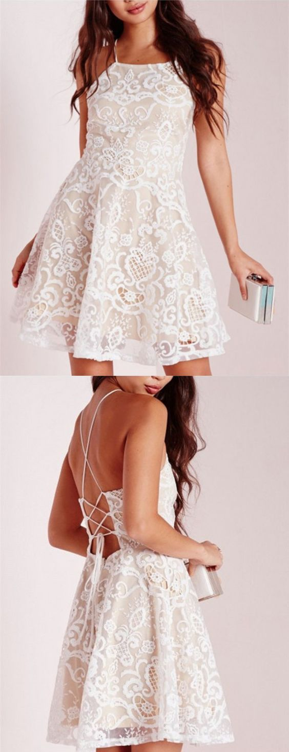 Aline halter short white crisscross straps lace homecoming dress