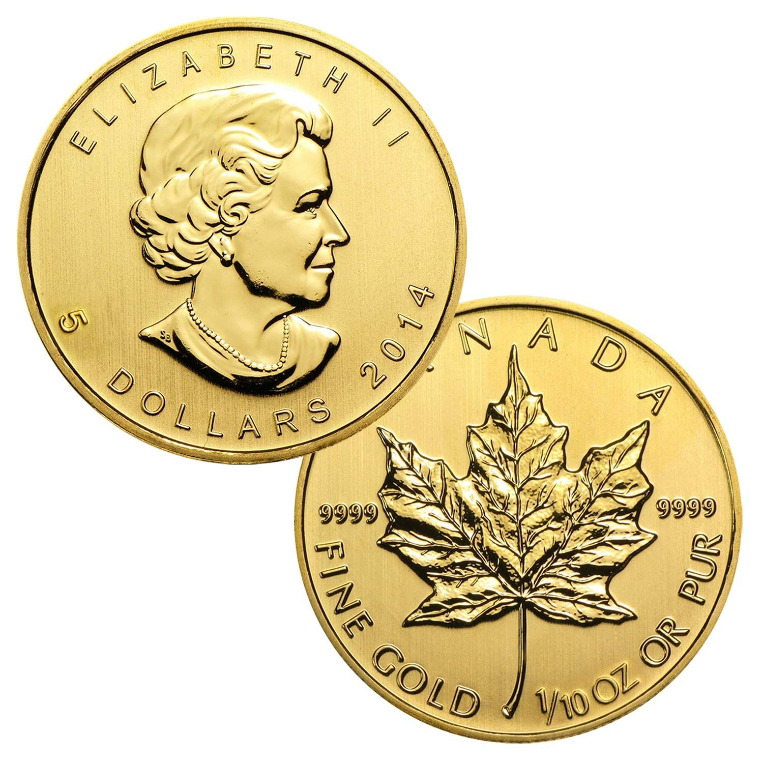 1 10 Ounce Canadian Gold Maple Leaf 5 Brilliant Uncirculated Gold Bullion Coins Coins Coin Buyers