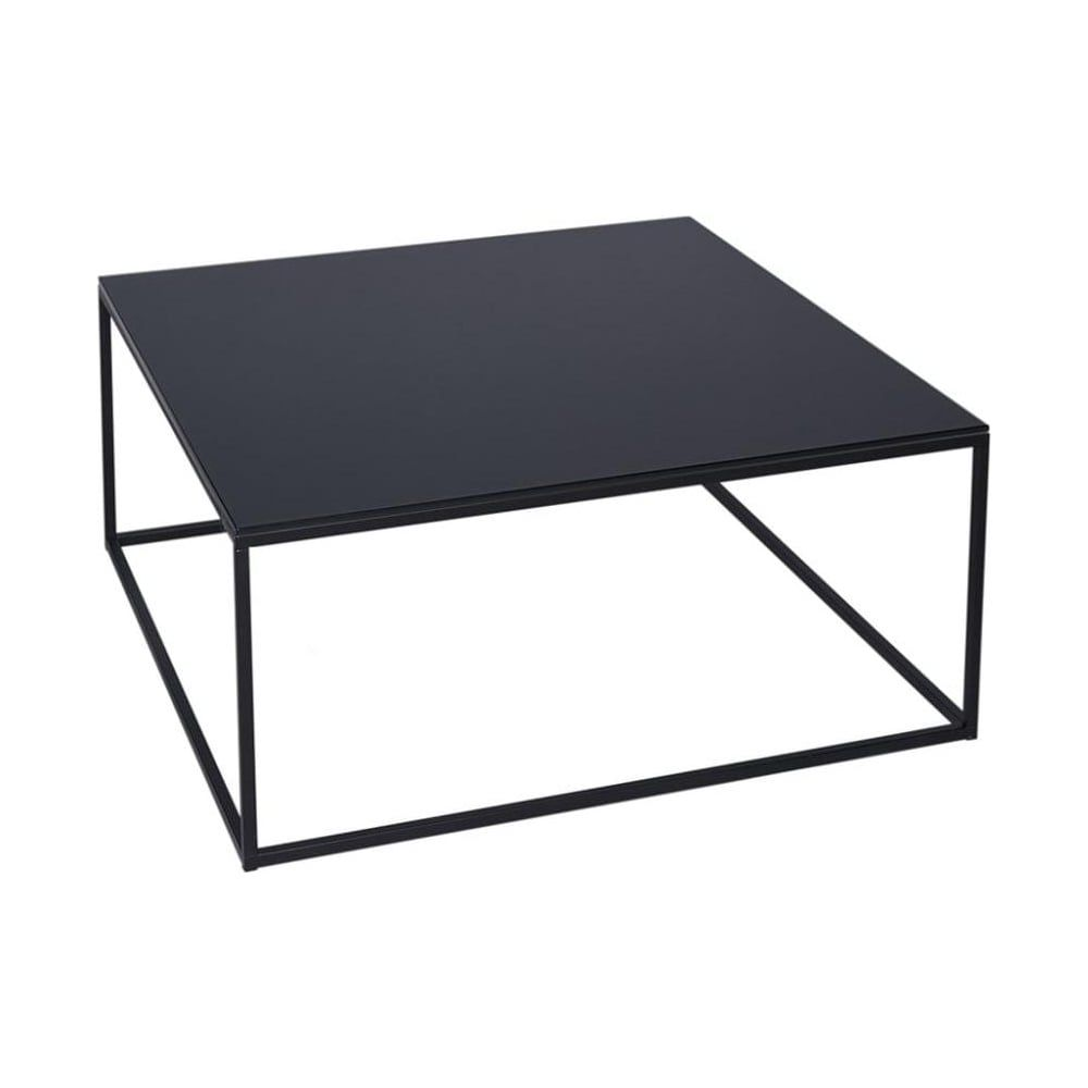 Black Gl And Metal Contemporary Square Coffee Table
