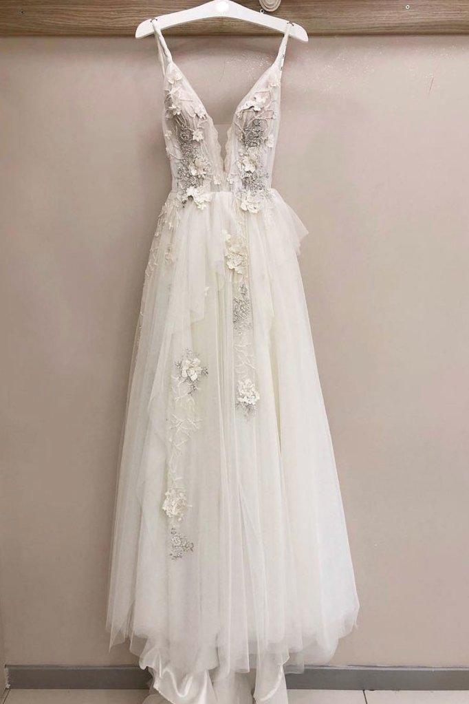 Photo of White Tulle V Neck Lace Applique Long Senior White Wedding Dress
