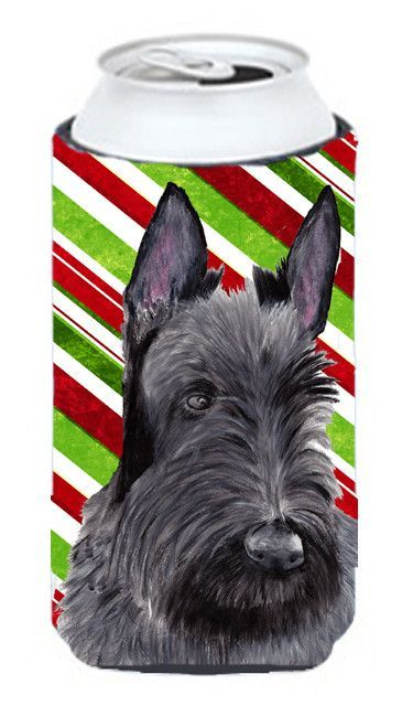 Scottish Terrier Candy Cane Holiday Christmas Tall Boy Beverage Insulator Beverage Insulator Hugger