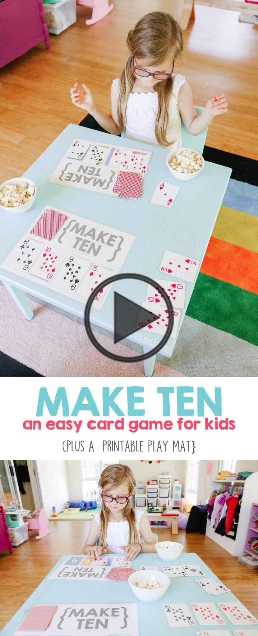 make ten an easy card game for kids in 2020  card games