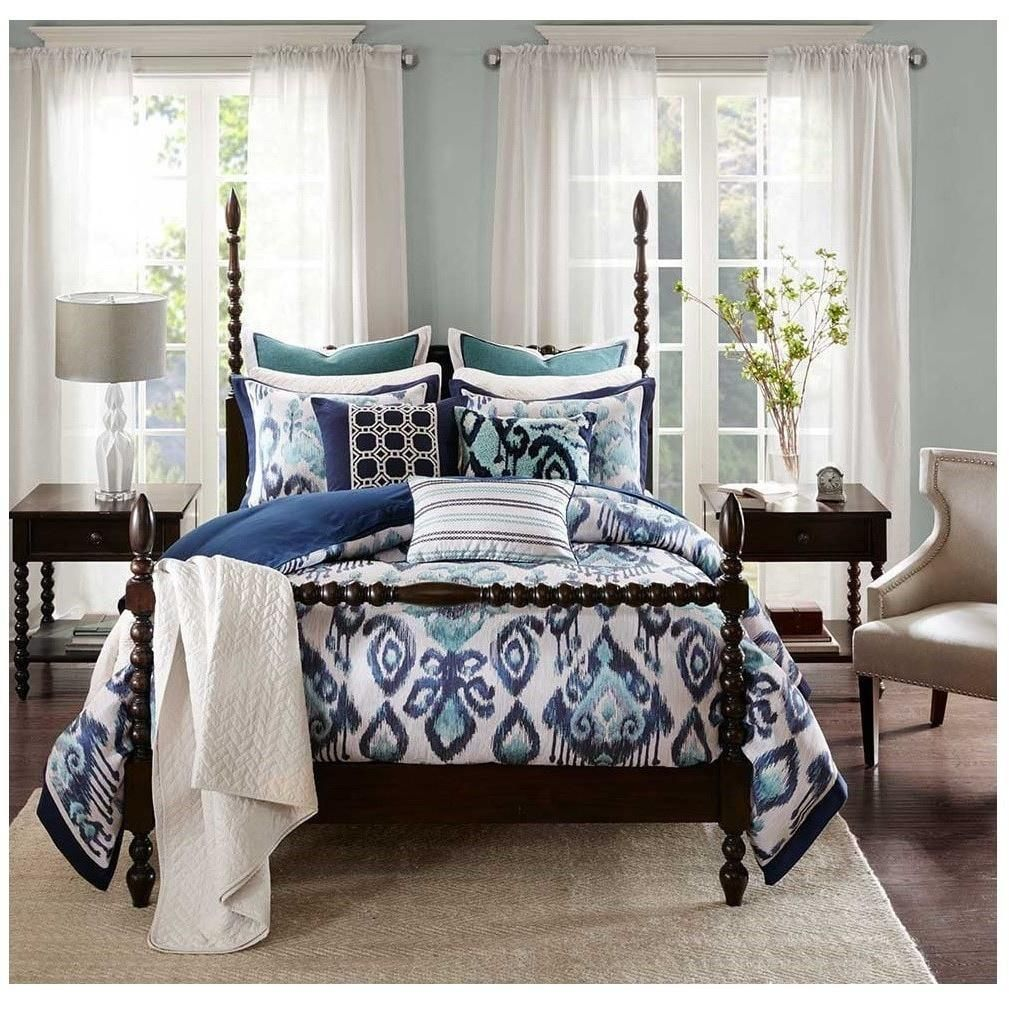 Enjoy A Modern Twist On Classic Blue And White Bedding Bold Ikat Comforter Set Features A Tribal Motif Comforter Sets Blue And White Bedding Best Bedding Sets