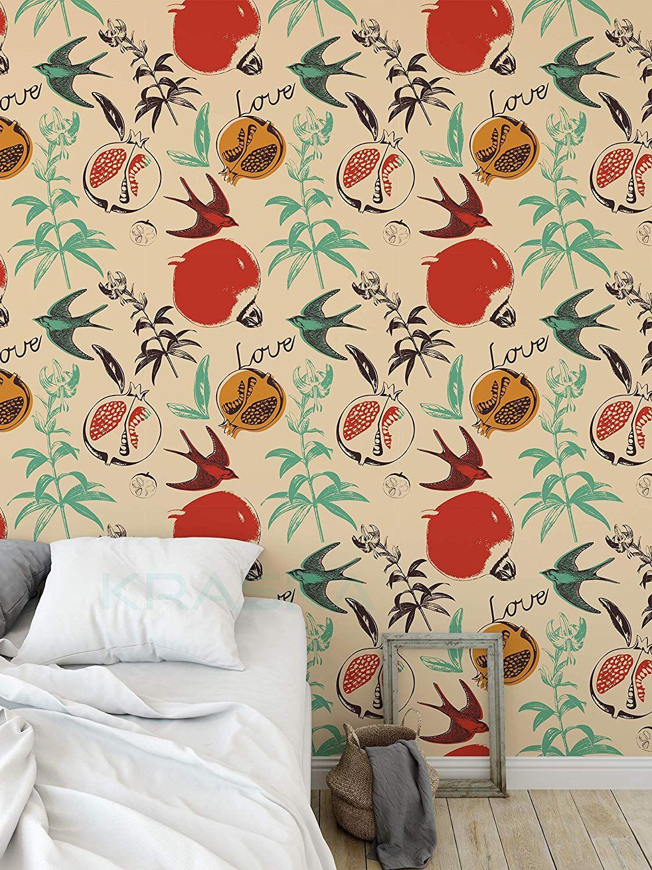 Amazonsmile Kraska Peel Stick Wallpaper Bird Fruit Floral Love Pomegranate Removable Wallpaper Self A Removable Wallpaper Peel And Stick Wallpaper Wall Decor
