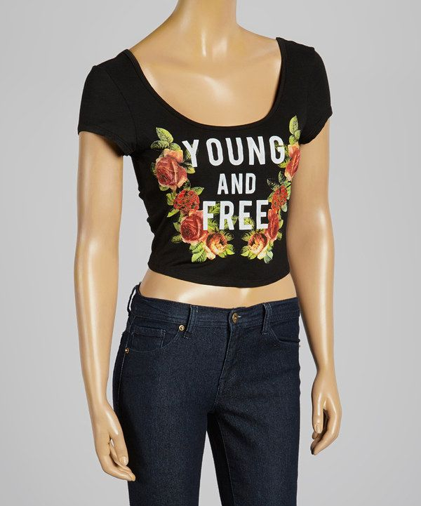 Look at this Terri B Black 'Young and Free' Crop Top on #zulily today!