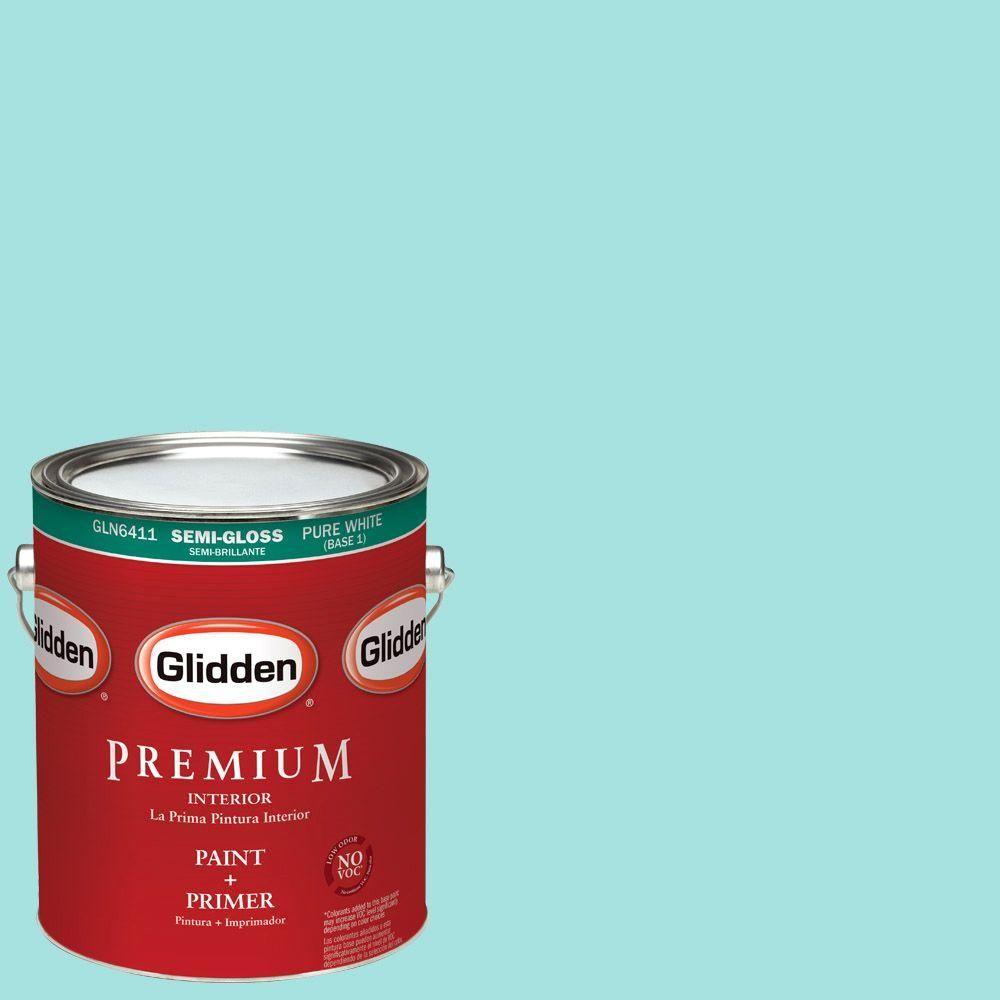 Glidden Premium 1-gal. #HDGB15U Sea Breeze Teal Semi-Gloss Latex Interior Paint with Primer