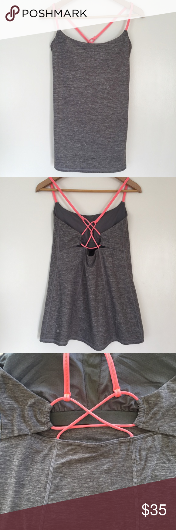 Lululemon Dancing Warrior Tank Top Pre-loved, Women's yoga strappy open back tank top, with light support and removable cups, luon fabric, Heathered Slate/Grapefruit. Please feel free to ask questions. No trades. lululemon athletica Tops Tank Tops