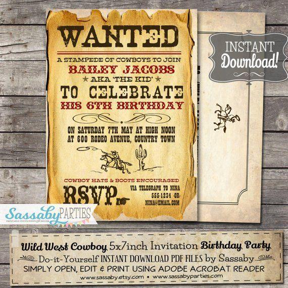 Wild West Cowboy Party Invitation