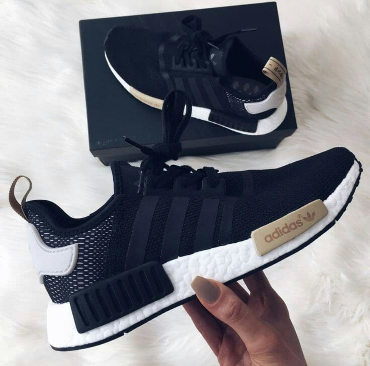 newest e32a4 16348 Womens Adidas black NMD black white and tan trainer shoe