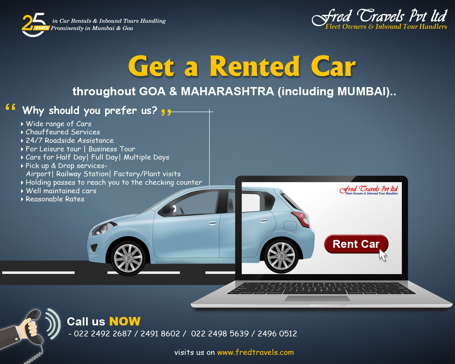 Car Rental Services In Mumbai With Best Fares Fred Travels Provide