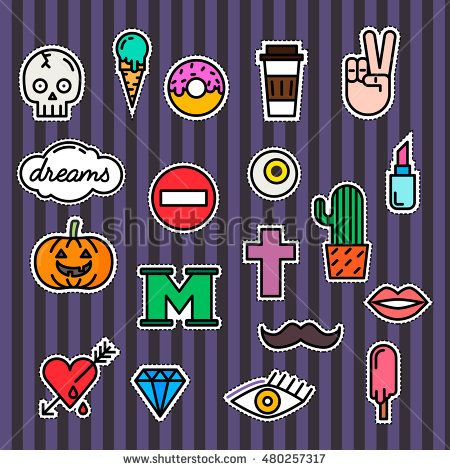 Set of fashion patch badges or modern pin badges. Lipstick, eye, letter and others. For t-shirt, bag, denim, hat, other clothes.