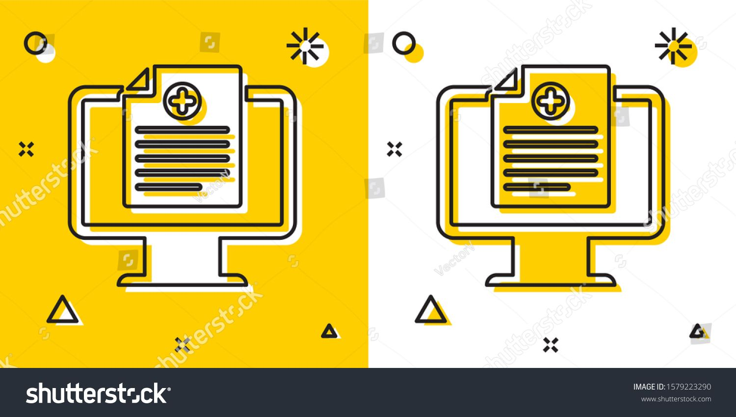 Black Medical Clinical Record On Monitor Icon Isolated On Yellow