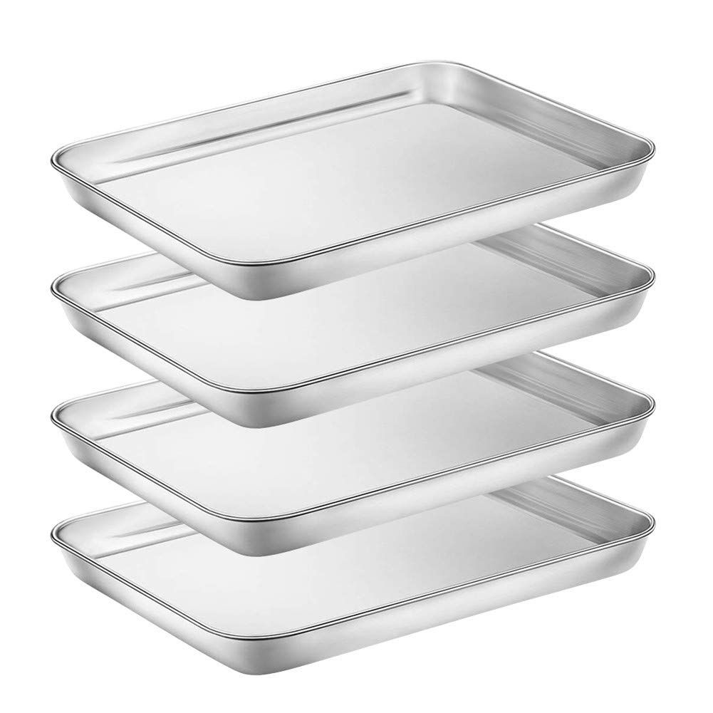 Baking Sheet Set Of 4 Trays Stainless Steel Bakeware Oven Pan Baking Pans Cookie Sheet Rectangle Size Non With Images Stainless Steel Bakeware Toaster Oven Pans Oven Pan