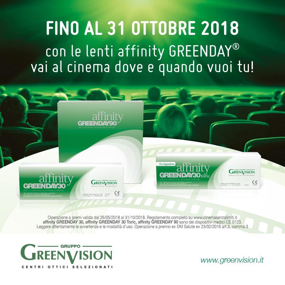 5c0b1e7ae8 Con la nuova promozione sulle lenti a contatto Affinty GREENDAY il cinema è  senza limiti.