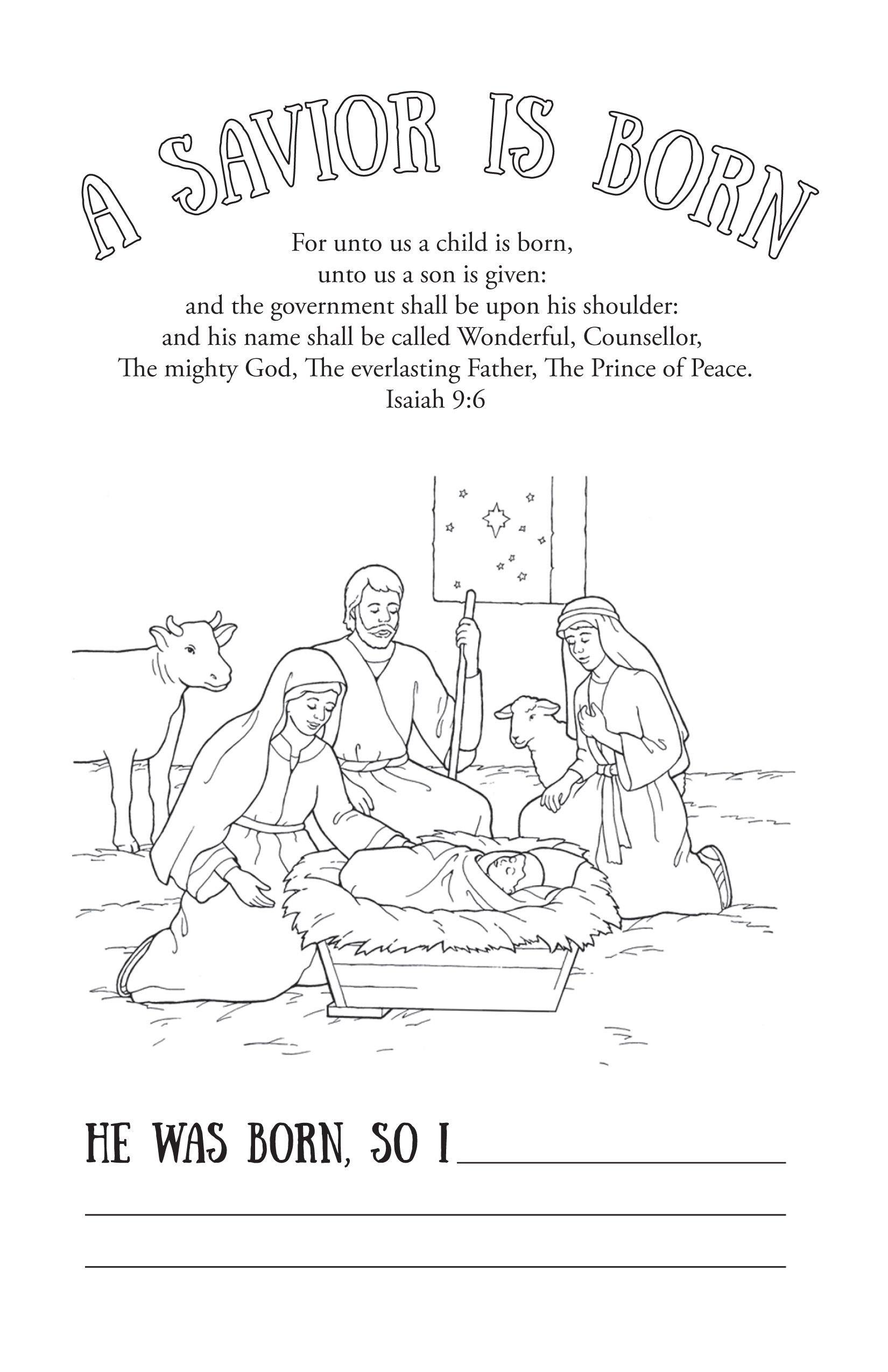 A Savior Is Born Coloring Page